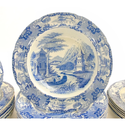 51 - An early 19thC set of Blue & White transferware 'Canton River Scene' plates comprising dinner plates...