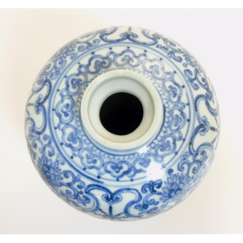 6 - A Chinese blue and white Meiping vase, with underglaze blue decoration of scrolling lotus, ruyi head...
