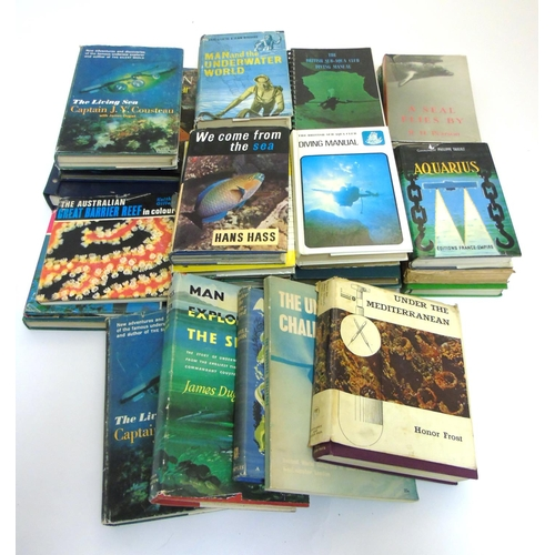 33 - Books: A large collection of Diving books to include: '' The Lost Land '' by John Dunbar, '' Ministr...