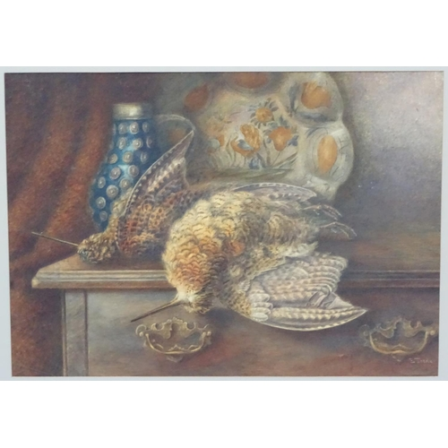 55 - Edwin Tourle 1897, Watercolour, Brace of woodcock on a table, Signed lower right, 14 x 19 1/2''...