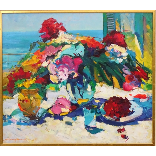 1 - Russian School XX Oil on canvas  Impressionist still life looking out to sea Signed lower left 25 1/...