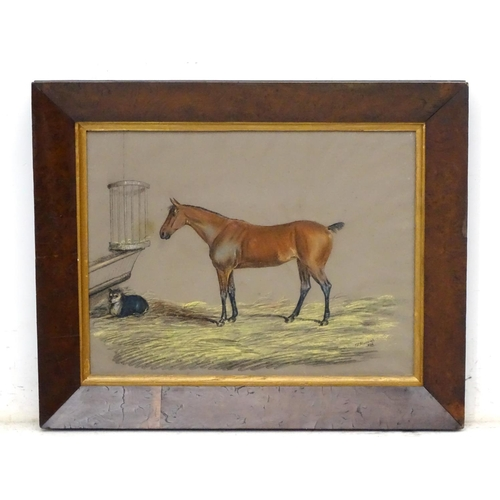 11 - J. S. Warwick 1836 Equine School, Pastel , Horse and a dog in a stable, Signed and dated lower right...