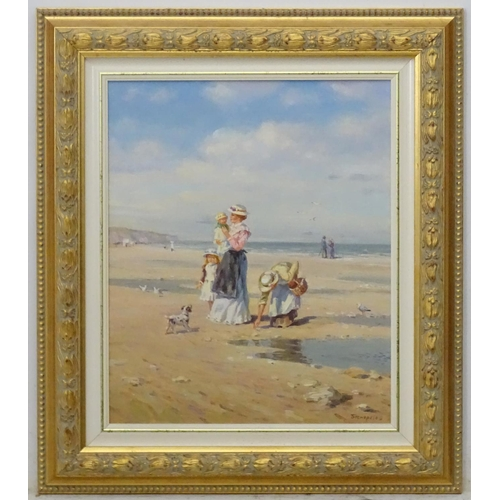 13 - Yakov Beperstov (XX) Russian Oil on canvas 'At low tide', Figures and dog on the beach. Signed lower...
