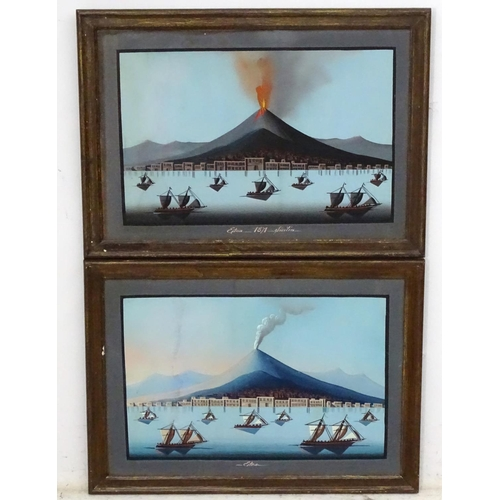 15 - XIX Neapolitan School, Gouaches, a pair, Grand Tour Rare Day and Night views, the volcano Mount ETNA...