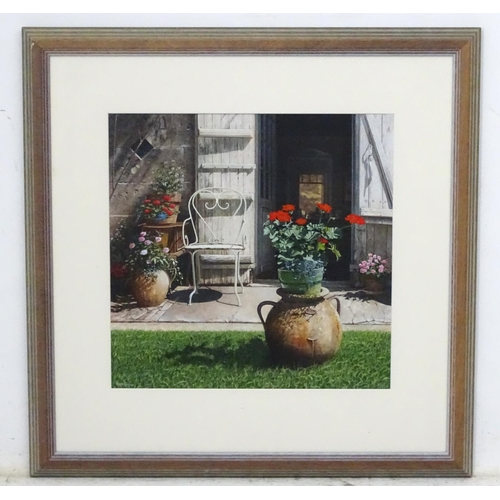 17 - Peter Evans,  Acrylic on paper , 'Chez Louis' , Signed lower left and titled verso. 16 x 16 Bears Th...