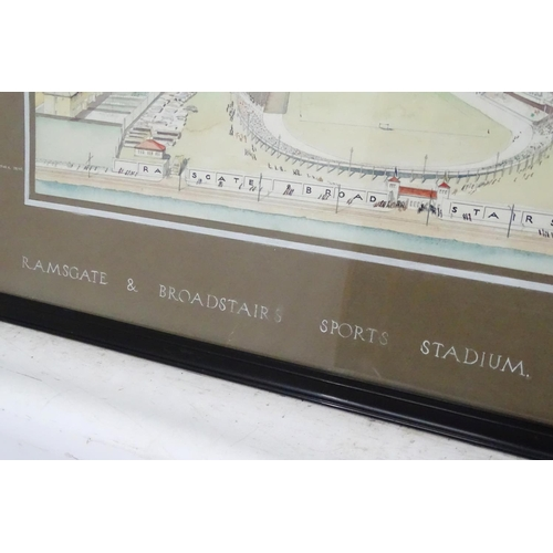 19 - Harry H Stroud (Architectural Drawing),  Pencil and watercolour, 'Ramsgate & Broadstairs Sports Stad...