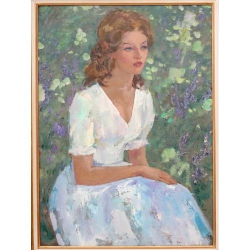 2 - Vladimir Trofimovitch Skriabin (1927-1989), Russian.  Oil on canvas, 'Young woman in white', Portrai...