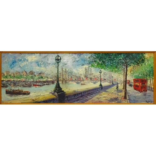20 - Rodrig XX British School, Oil on board, 3D effect, London street scene Chelsea embankment beside the...