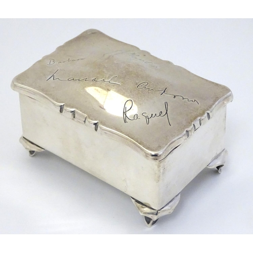24 - A silver box with engraved names to hinged lid. Hallmarked Birmingham 1905 maker Deakin & Francis. 3...