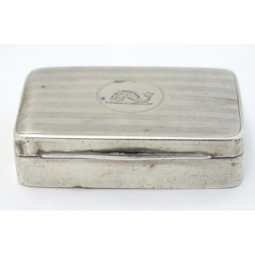 25 - A silver snuff box with engraved engine turned decoration to lid. Hallmarked Chester 1914 maker Geor...