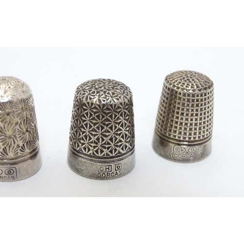 41 - 5 various silver plate thimbles to include 3 ' Dorcas' examples numbered 6, 8 & 9. (5)...