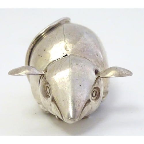 49 - A novelty silver vesta case formed as a mouse 2 1/2'' long...