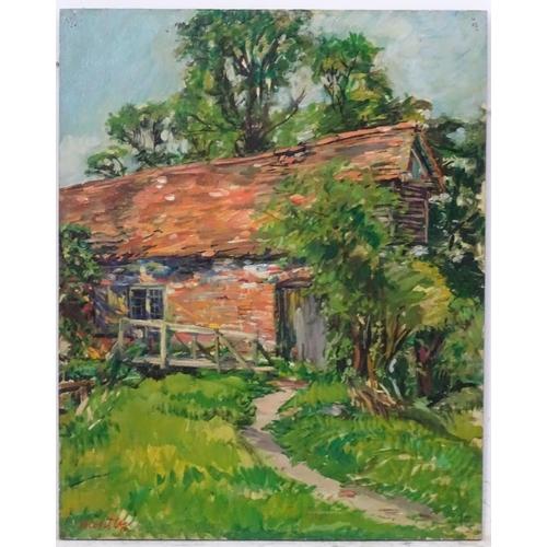 6 - Nancy Weir (Sheppard) Huntly (1890-?), Oil on board, '''Old Mill'' Blewbury, Berkshire', Signed in r...