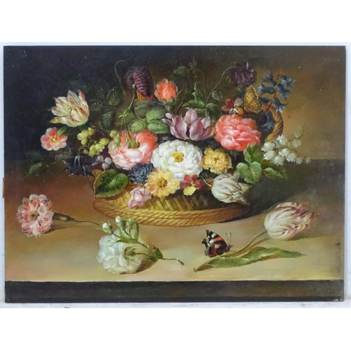 7A - XX Continental School, Oil on panel? A still life with flowers in a basket near a butterfly 12 x 16'...