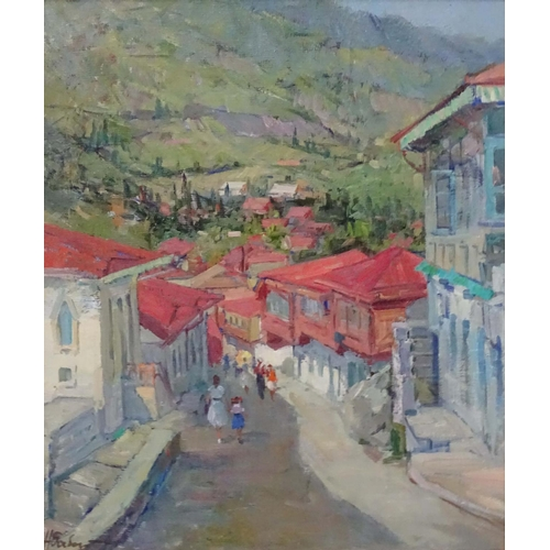 8 - Nikolai Nikolaevitch Babasyuk (1939-2006), Russian. Oil on canvas, 'In Crimea' 1960, Hillside street...