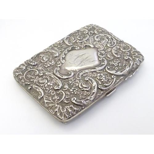 52 - A silver cigarette case hallmarked Birmingham 1901 maker Horton & Allday 3 1/4'' x 4 1/4'' x 1/4''...