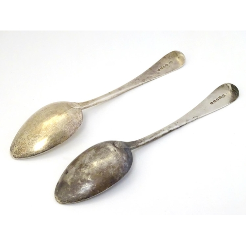 53 - A pair of Old English table spoons hallmarked London 1830 maker Jonathan Hayne 9 1/4'' long (172g)...