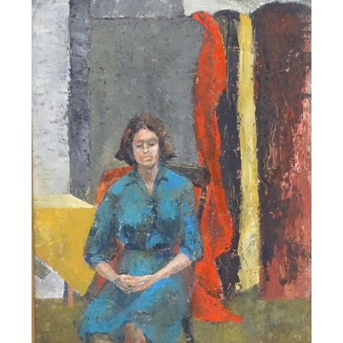 22 - Gwen Nelson, c.1935, Oil on board, Portrait of a woman sitter, Initialled lower right and ascribed v...