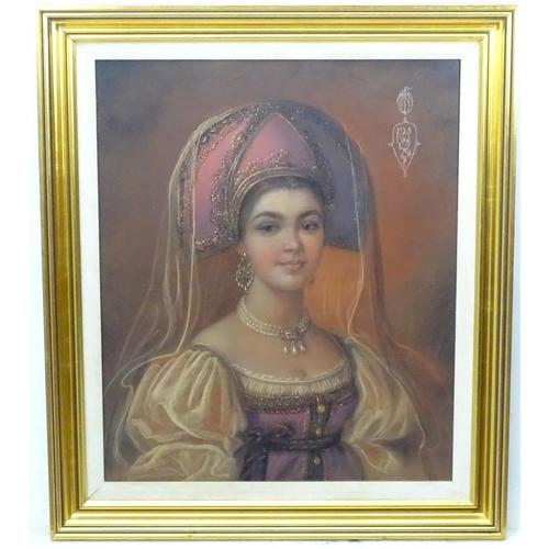 24 - Marina Kuznetsova (1963) Russian, Pastel, A Russian noble lady, Portrait of a Russian lady wearing h...