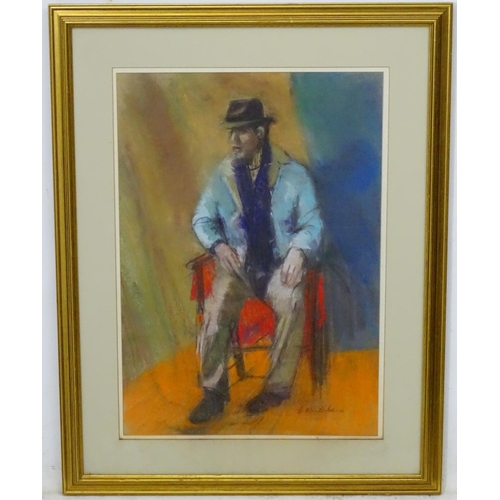 25 - F. Winterborne, early - mid XX, Pastel, A seated man wearing a hat, Signed lower right, possibly fir...