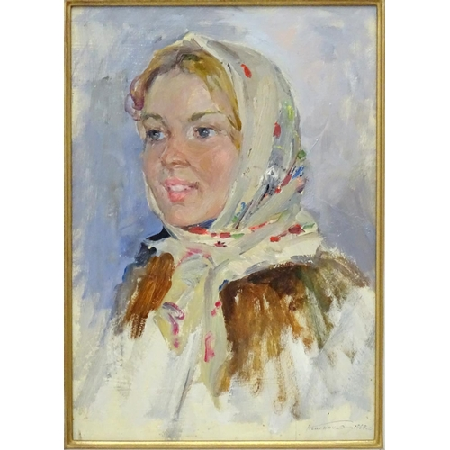 29 - Nikolai Nikolaevitch Baskakov  (1918-1993), Russian, Oil on cardboard, 'Sketch of a young woman' 196...