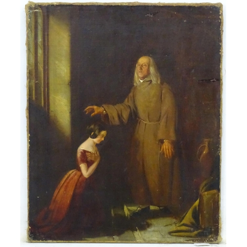3 - D.M., XIX, Oil on canvas, A blind man giving blessing to kneeling girl. 21 x 16 3/4''...