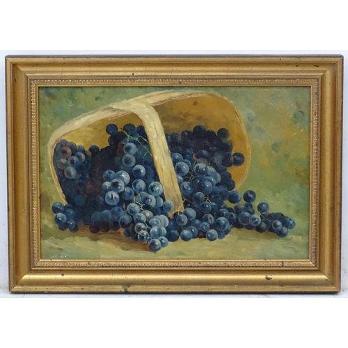 33 - William H. Price, 1905, Oil on board, Still life of grapes spilt from a basket, Signed and dated low...