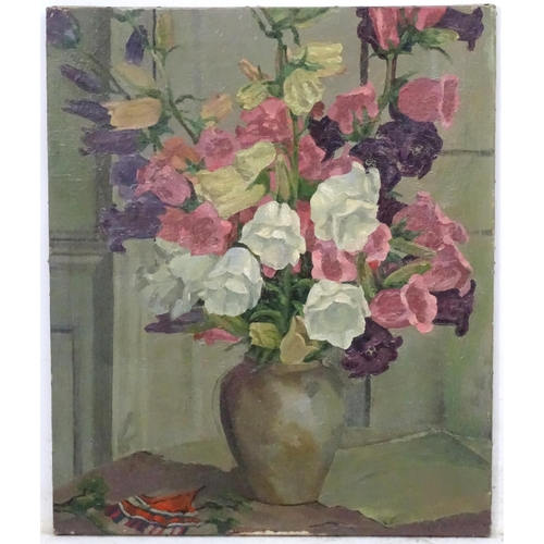 37 - Wynford Dewhurst (1864-1941), Oil on canvas, Still life of campanula flowers in a vase,  Signed lowe...