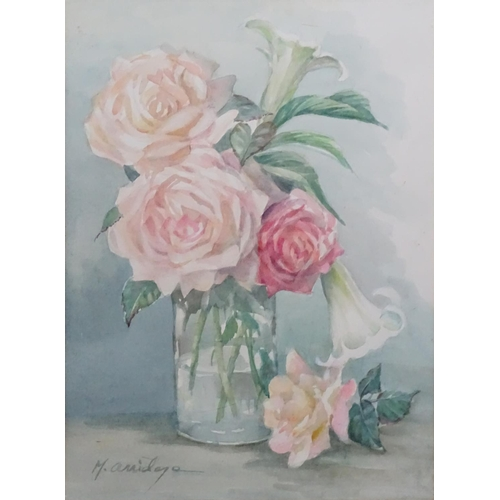 43 - Margaret Irene Chadwick Arridge (1921), South Africa, Watercolour, Roses in a vase, Signed lower rig...