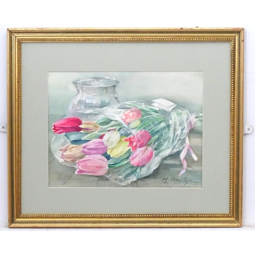 44 - Margaret Peggy Irene Chadwick Arridge (1921), Watercolour, 'Bouquet of Tulips', Signed lower right, ...