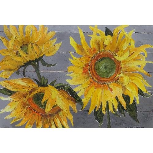 45 - M... Steiner, XX, Acrylic,  Sunflowers, Signed lower right. Aperture 14 3/4 x 21 3/4''...