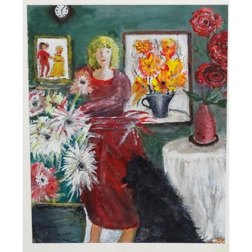 46 - Roy Davey, 1946, Oil on canvas board, Woman and dog in an interior, Signed lower right and labelled ...