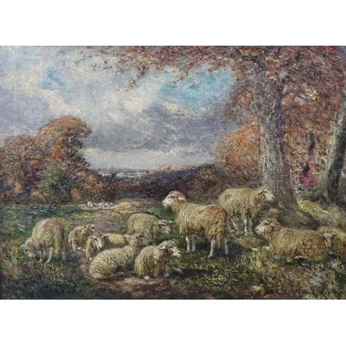 55 - William Macbride (1856-1913), Scottish, Oil on canvas, Sheep in a landscape, Indistinctly signed low...