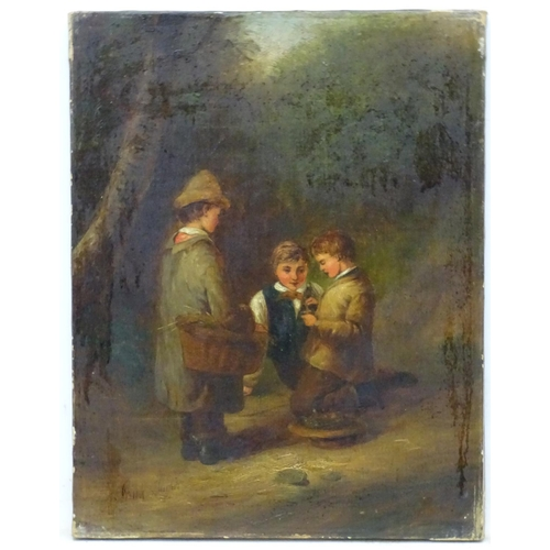 8 - Frank James Turner (act.1863-1875), Oil on canvas, Three boys playing in the woods find a nest and y...