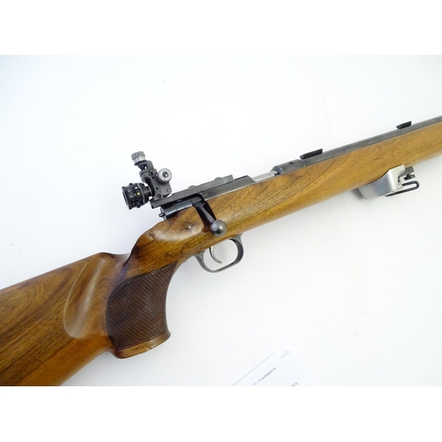 Rimfire rifle: a 'Mod 54 Match'  22LR bolt-action rifle by Anschutz