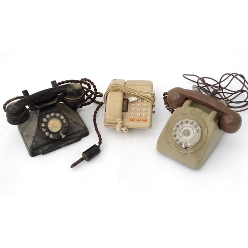 430 - Three mid-late 20thC telephones...