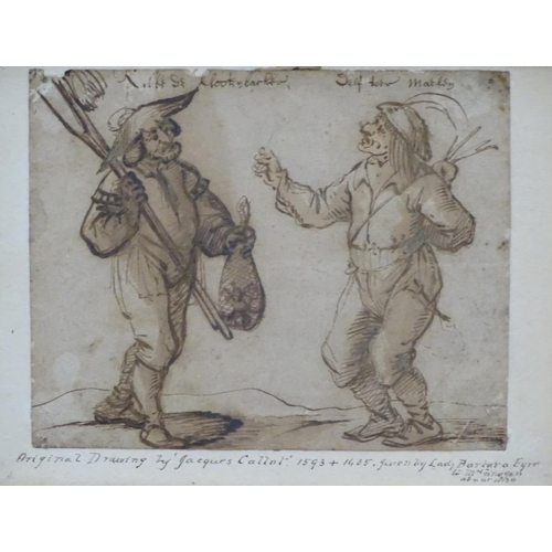 1 - Andries Dirksz Both, (1612/13 - 1642), Dutch School, Pen and brown ink and wash, Peasant figures as ...