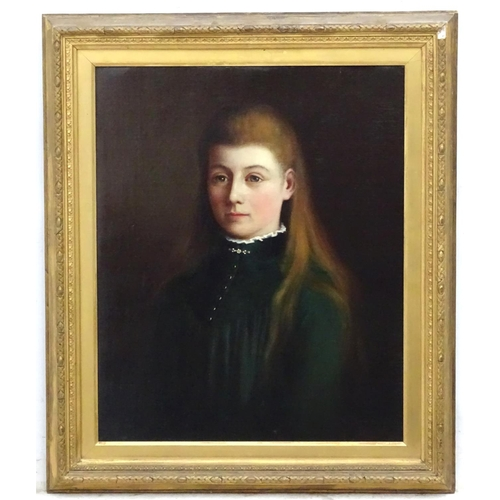 10 - Gertrude Seth (1868-1957), Oil on canvas , 1889, Portrait of a girl with long Aubin hair, Signed and...