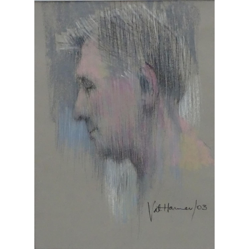 11 - Val Hamer, XX-XXI, Pastel, A man's head looking right, Signed and date '03' lower right. 17 x 12 3/4...
