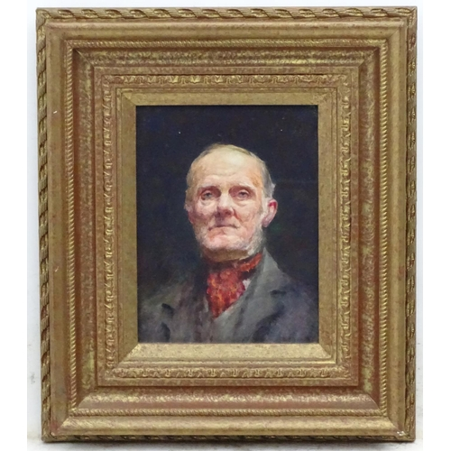 12 - Mary P Moultrie XIX-XX, Oil on board, Portrait a man wearing a cravat, Initialled lower right. 8 1/4...