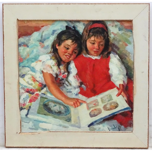 13 - Dunlop XX, Oil on board, Young girls looking through a photo album, Signed lower right. 15 1/2 x 16'...