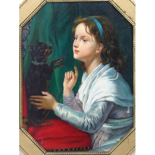 14 - Indistinctly signed, Oil on canvas board, A young girl with Manchester Terrier dog on a cushion, Sig...