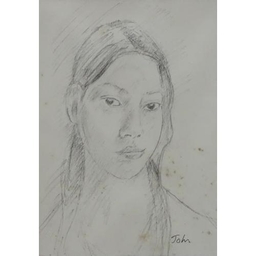 15 - John, Pencil drawing, ' Gwen ' according to script verso ' Gwen John by her brother Augustus John', ...