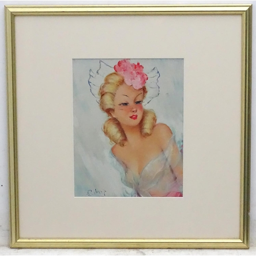 16 - ? Robert XX French, Oil on canvas, A blonde girl with diaphanous dress, Signed lower left. 12 1/3 x ...