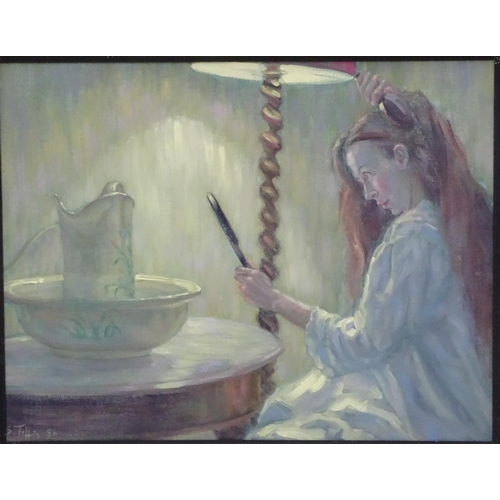17 - Sheila Tiffin (1952), Oil on canvas, A girl combing her hair before a jug, bowl and holding a hand m...