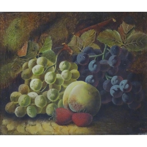 19 - T Hughes, C.1900, Birmingham School, Oil on canvas, Still life with fruit, Signed lower right. 10 x ...