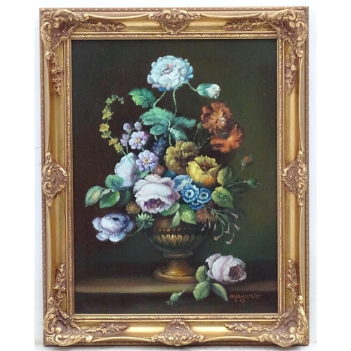 20 - Mayers, late XX, Oil on artist's board, Still life of flowers in an urn on a stone ledge,  Signed lo...