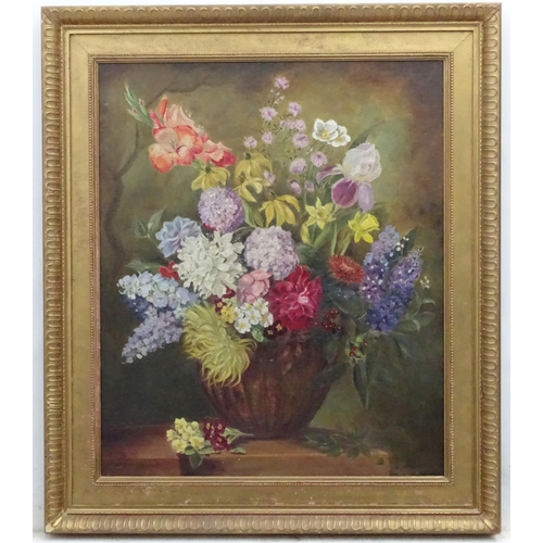 21 - C. 1950, Oil on canvas, Still life of flowers in a bowl on a ledge. 30 x 24 1/2''...