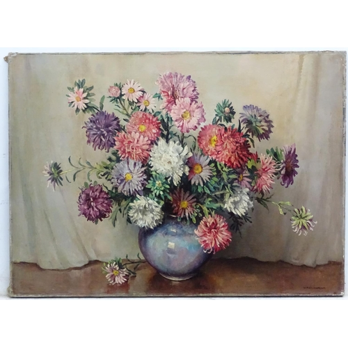 22 - William Ralph Edward Goodrich (1887-1956), Oil on canvas Still life of dahlias in a bowl, Signed low...
