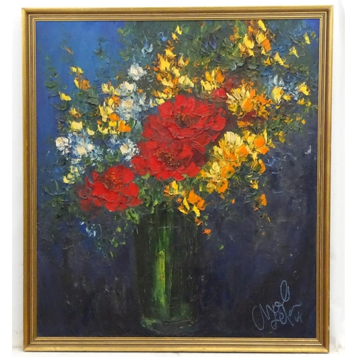 23 - Mel ??? 68, Oil on canvas, Still life, Signed and dated lower right. 36 x 32''...